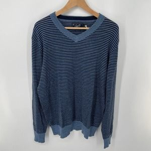 Grayers Navy Bleecker Stripe V Neck Sweater Large